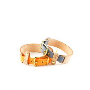 Leder und Biothane Halsband grau und orange