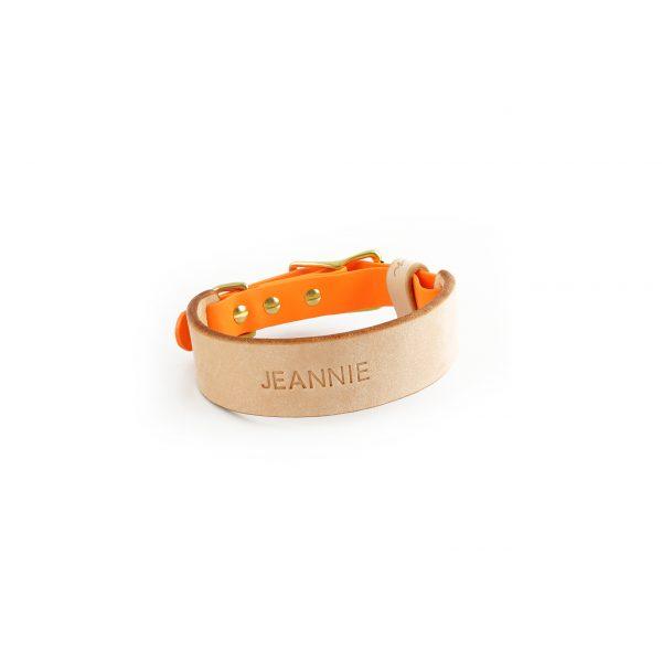 Halsband mit Name Leder orange