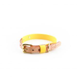 gelbes Biothane Halsband Leder