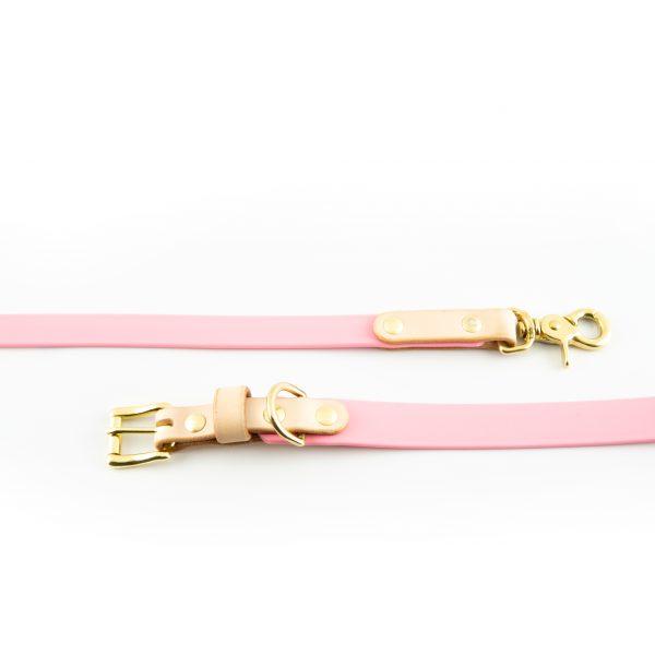 Leine und Halsband rosa Messing