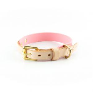 Halsband dickes Biothane rosa Leder