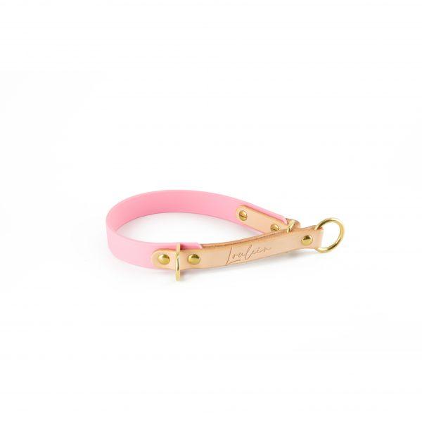Zugstop Halsband rosa mit Leder