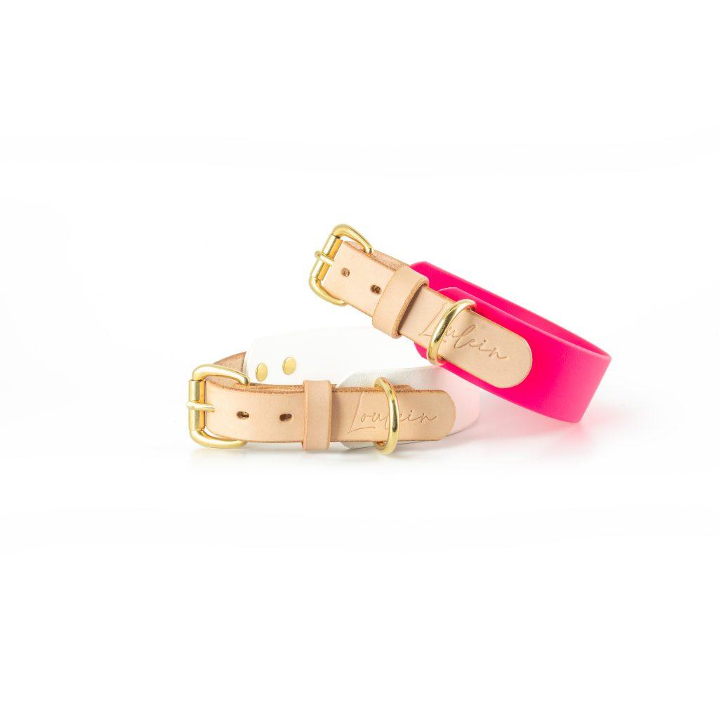 Biothanehalsband pink und weiss